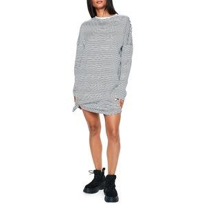 MISSGUIDED Striped Oversized sweater dress